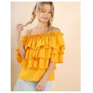 UMGEE Off Shoulder Tiered Ruffle Top in Mustard L
